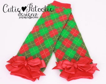READY TO SHIP: Leg Warmers - Red & Green - Argyle Print with Red Bows - Pretty Present - Christmas Outfit Accessory - One Size