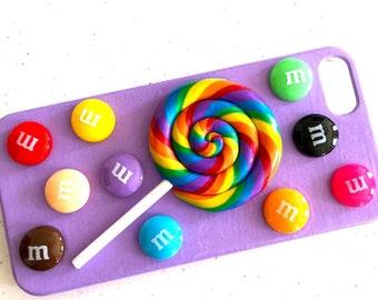 Kawaii iPhone 5 Cover Case Candy Lollipop Purple OOAK
