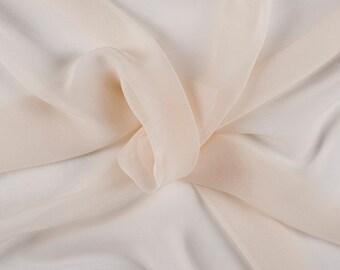 """54"""" Wide 100% Silk Cream Chiffon By the Yard"""