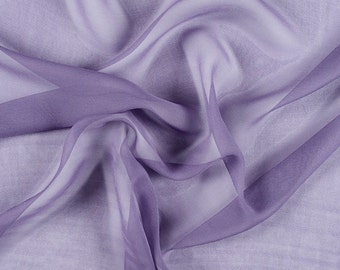 "54"" Wide 100% Silk Chiffon Amethyst By the Yard"