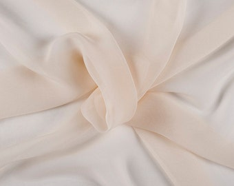 """45"""" Wide 100% Silk Chiffon Cream By the Yard"""