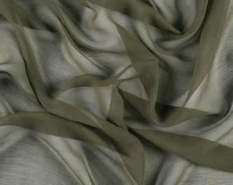 "42"" Wide 100% Silk Crinkled Chiffon Olive Green by the yard"