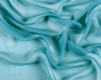 "42"" Wide 100% Silk Crinkled Chiffon Seafoam Green by the yard"