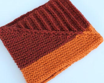 Hand Knitted Cowl, Knit Wool Cowl, Knit Brown Orange Cowl