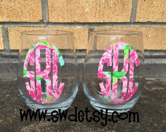 Personalized Lilly Pulitizer Inspired Stemless Wine Glass, Bridesmaid Gift