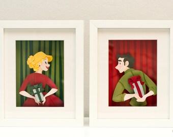 Deck the Halls Original Cut Paper Illustrations (Framed 7 x 8.5 in)