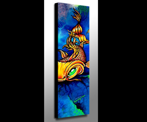 Koi painting koi art koi fish art tattoo art canvas for Koi canvas print