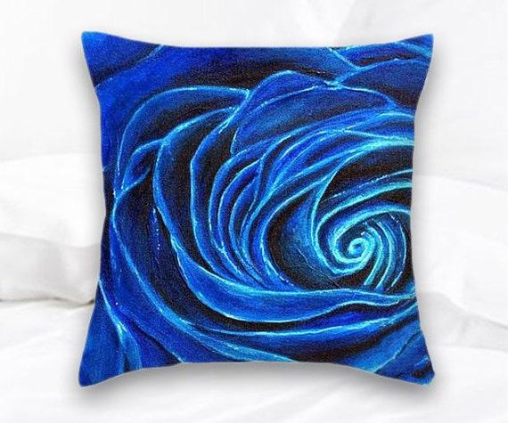 Blue Rose Throw Pillow Home Decor Decorative Pillow