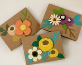 Floral Stationery Set, Flower Cards, Hand Cut Floral Stationery, Dimensional Cards, Card Set