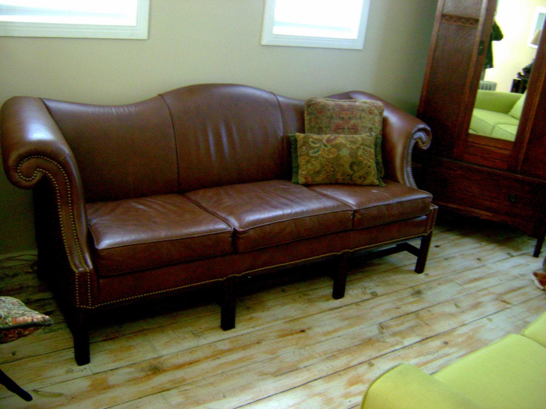 Vintage camel back leather sofa by schafer bros Camel back sofa
