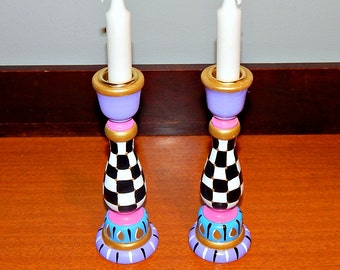 Whimsical Handpainted Candlesticks