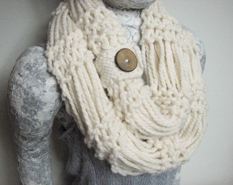 Cream Hand Knit Infinity Scarf with Handmade Maple Wood Button
