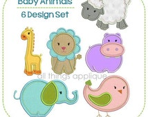 Baby Animal Applique Design Set (#635) - 6 Designs - INSTANT DOWNLOAD