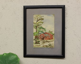 Mid Century Modern, Art Deco, Vintage Watercolor matted and framed