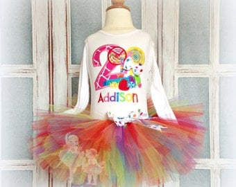Candy themed birthday outfit - girls rainbow lollipop birthday outfit - candy tutu outfit - personalized rainbow candy birthday outfit