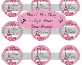 Momma Eva's -- INSTANT DOWNLOAD / Roses In Paris Beauty / 4 x 6  / 1 in Circles /  Bottle Caps Scrapbooking Hair Bows