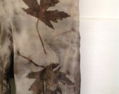 Merino Wool leggings Extra Small Eco Dye Eco Print maple leaf purple black
