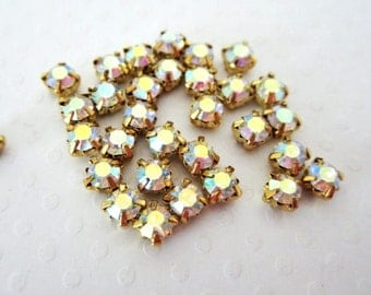 4mm Sew on AB Rhinestones. Gold Colored Settings. 4mm. 50 Pieces.