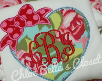 Heart with Bow and Monogram Ruffle Shirt