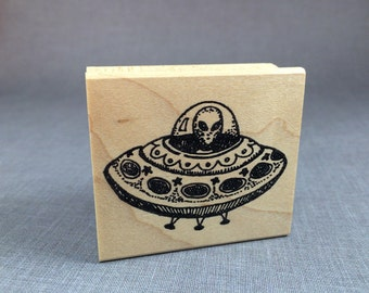Alien Spaceship Rubber Stamp
