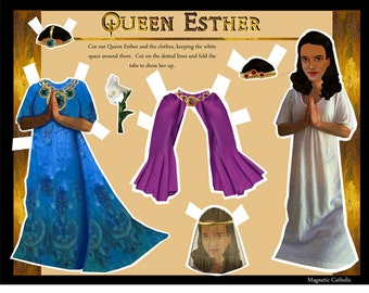 Queen Esther Bible Character magnetic paper doll dress up set