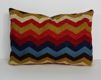 Chevron Adobe Decorative Lumbar Pillow Cover, Waverly Fabrics, Panama Wave, Zigzag, Red, Blue, Brown, Throw Pillow Cover, Cushion Cover