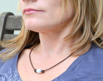 Pearl and Knotted Leather Necklace, A Single Chunky White Freshwater Pearl on Brown Leather Cord, Other Colors Available, Gift Boxed