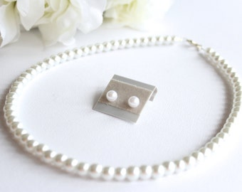 Pearl Necklace & Earrings Pearl Post Studs and Necklace Set Flower Girl Gift, Jr Bridesmaid, Birthday, 1st Pearls -- FREE Gift Packaging