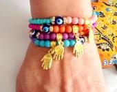 SALE-- HAMSA BRACELET - Bohemian -Gypsy Bracelet -Amulet Bracelet-Hamsa bracelet