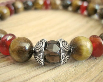 Celtic Bracelet - Tigers Eye Yoga Bracelet, Carnelian and Smoky Quartz, Empowerment Prayer Beads