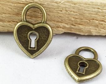 Heart Charms -20pcs Antique Bronze Lock with Key Hole Charm Pendant 14x19mm D404-6