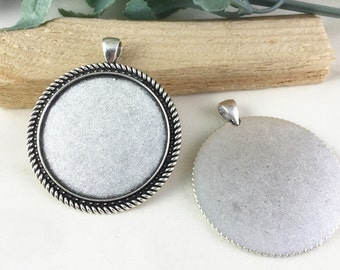 Cabochon Base Settings -5pcs Antique Silver Round Cameo Tray Charm Pendants 40mm AC305-6