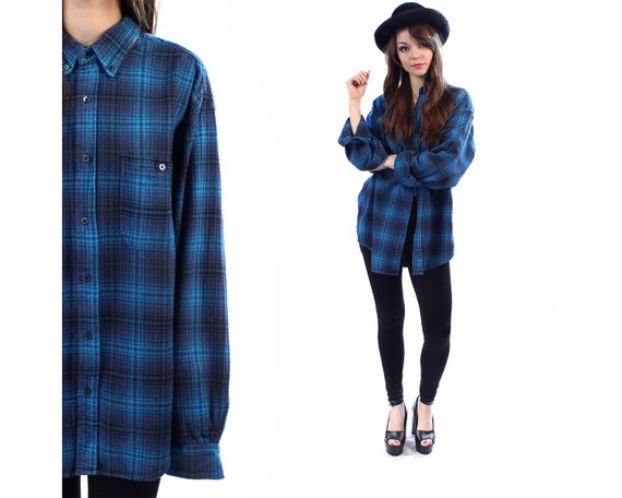 Blue Plaid Shirt 90s Grunge Flannel Button Down DISTRESSED