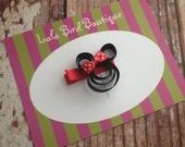 Ribbon Minnie Mouse Hairclip - Minnie Mouse with Red Polka Dot Bow - Toddler, Child, Baby  - READY TO SHIP