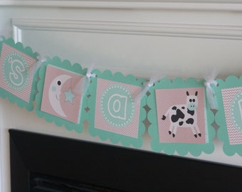 """Aqua Blue & Taupe Cow Moon Story Book Boy Baby Shower - """"Its a Boy"""" or """"Little Man"""" Man Baby Shower Banner - Ask About Party Pack Specials"""