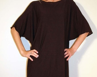 Brown Tunic like Dress Loose with Bat Sleeves - made from lightweight semi-sheer cotton&wool jersey knit