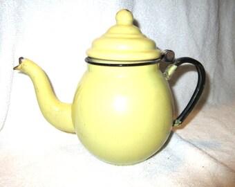 Old Vintage Graniteware Yellow Teapot