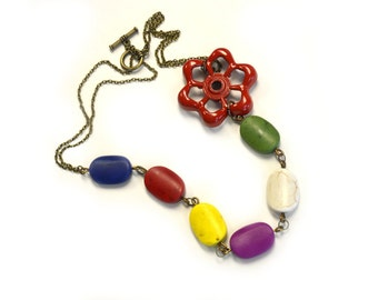 Industrial Statement Necklace Colorful Jewelry Valve Knob Necklace