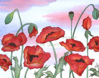 Sunrise Poppies - Print of Red and Orange Poppies with Purple Cloud and Blue Sky Background