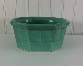 pottery bowl-USA pottery-Turquoise pottery- planter