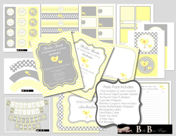 Chick Baby Shower- Gender Neutral- Digital Party Pack- PRINTABLE