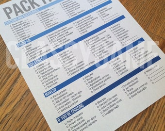 Packing List from my travel planner set - 2 versions - PDF download