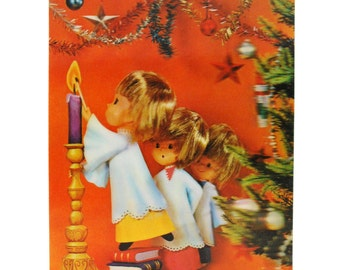 1950s Lenticular Holiday Postcard Flasher - Holiday Candles and Choirboys - Wonder Co., Japan // Vintage 3D Christmas Card