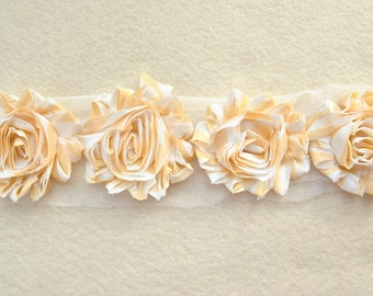 Shabby Chiffon Rose Trim, Shabby Flower, Yellow Stripe, 1 yard