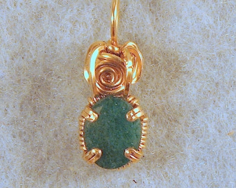 Emerald in Gold Filled Wire Wrapped Pendant Number 5 of 500