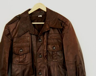 Vintage Mens Leather Jacket Beged-Or Hip Length Chocolate Brown 1970s Large