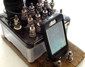 Docking Station, Charging Station, Stand made from Vintage Railroad Equipment, Union Switch and Signal Railroad Relay