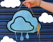 Pale Blue Glitter Rain Cloud Clutch Handbag
