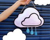Pale Pink Glitter Rain Cloud Clutch Handbag
