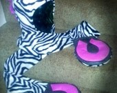 Zebra scoodie with pink accent (custom for Jamie)
